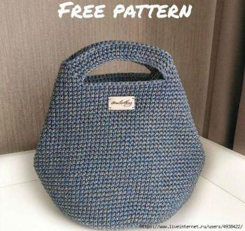 Летняя сумка - шоппер крючком из трикотажной пряжи или шнура