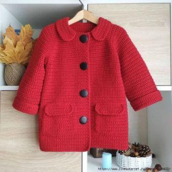 Пальто для девочки - кардиган крючком