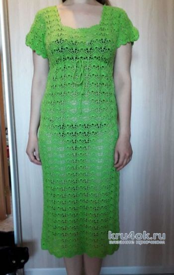 Пляжное платье, связанное крючком. Работа Ольги