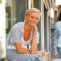Болеро и юбка голубого цвета