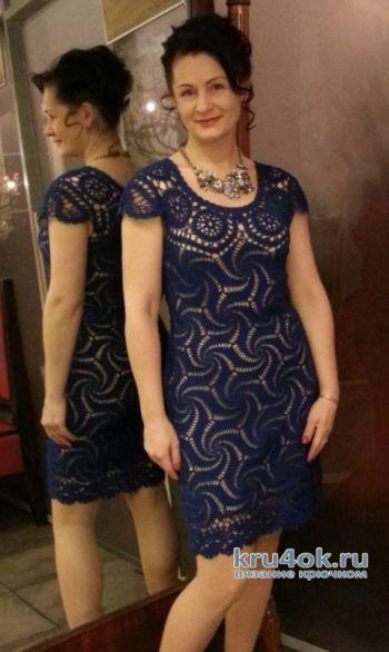 Вязание ажурного женского платья