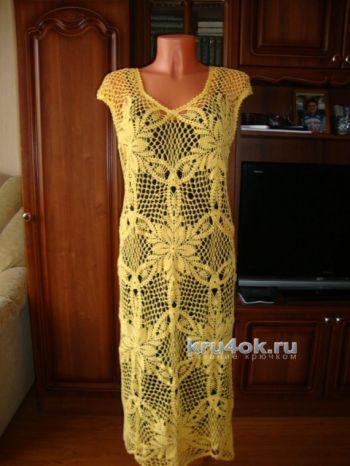 Вязание ажурного платья крючком для женщин