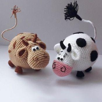 Бык - символ 2021 года, подборка 50 схем вязания крючком бычка и коровы