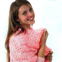 Розовый платок, связанный на вилке
