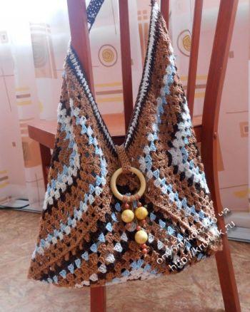 Вязаная крючком сумка сумка Весеннее настроение (бабушкин квадрат)