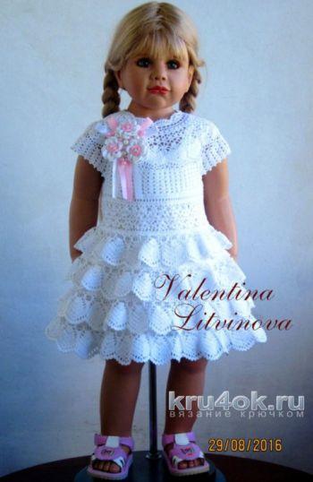 Вязание детского платья с воланами