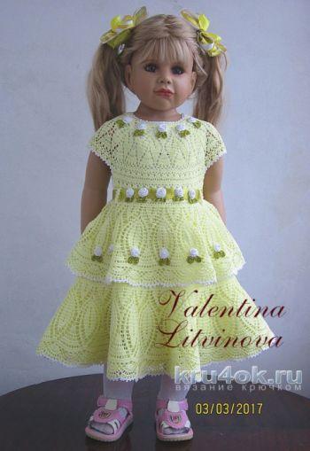 Вязание ажурного платья крючком для девочки