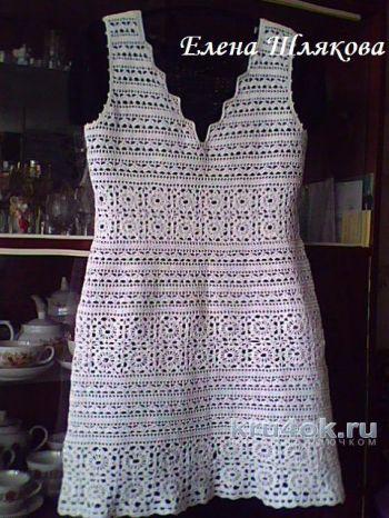 Вязание платья Белая мережка