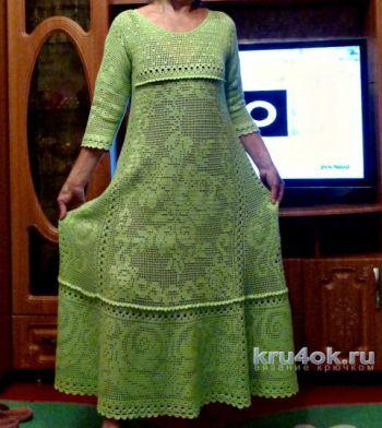 Женское платье крючком, филейное вязание