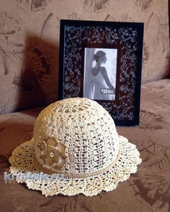Летняя шляпа крючком. Работа Петровой Виктории