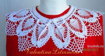 Воротник крючком - вязаное украшение для платья
