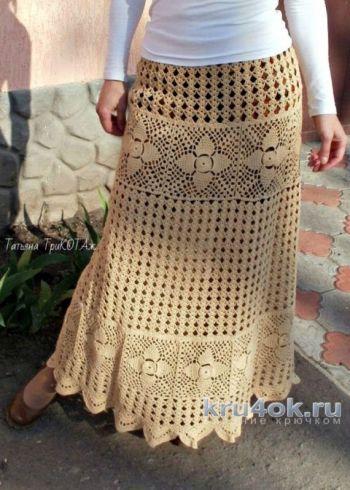 Женская ажурная юбка крючком