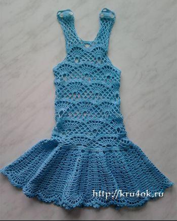 Голубой сарафан для дочки крючком