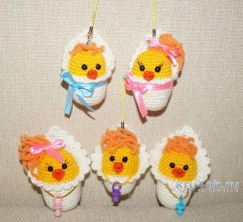 Игрушки цыплята амигуруми крючком для начинающих