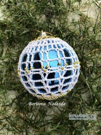 Новогодняя игрушка, елочный шар крючком