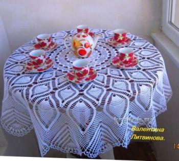 Круглая скатерть с узором ананас, описание и схема вязания