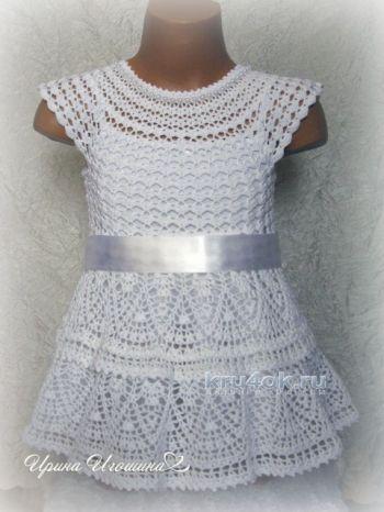 Вязание платьядля девочкиСнежинка