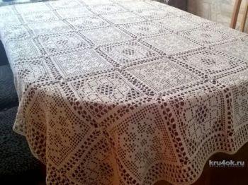Схема прямоугольной скатерти на обеденный стол