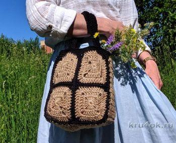 Маленькая сумка из джута крючком на основе бабушкиного квадрата, мастер-класс!