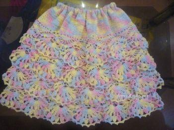 Вязаная юбка для девочки крючком с воланами