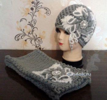 Шапочка и шарф для девочки крючком