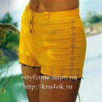 Желтые шорты, связанные крючком