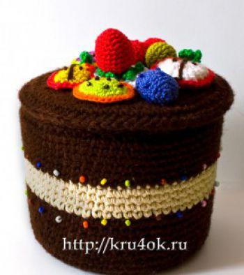 Шкатулка-тортик, связанная крючком. Вязание крючком.