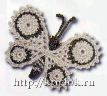 Вязаное украшение бабочка крючком