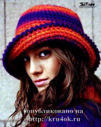 Теплая шляпка/панама с полями крючком