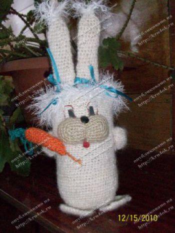 Карандашница «Белый кролик». Вязание крючком.