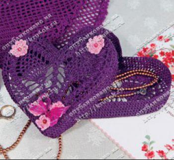 Шкатулка в форме сердца. Вязание крючком.